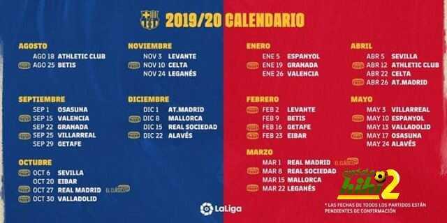 جدول مباريات برشلونة في الليجا 2019 2020 هاي كورة